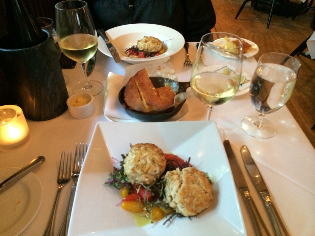 Crabcake til forret på Occidental Grill and Seafood
