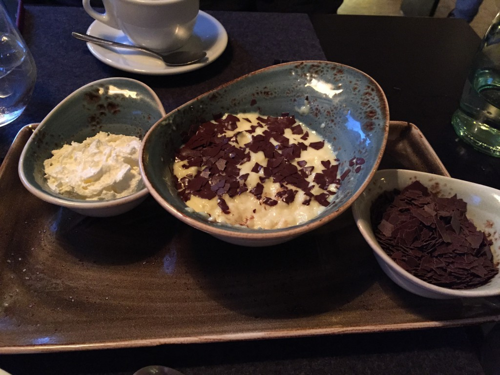 Dessert, was not what we ordered, so we did not pay for it. Warm pudding and chocolate with whipped cream.