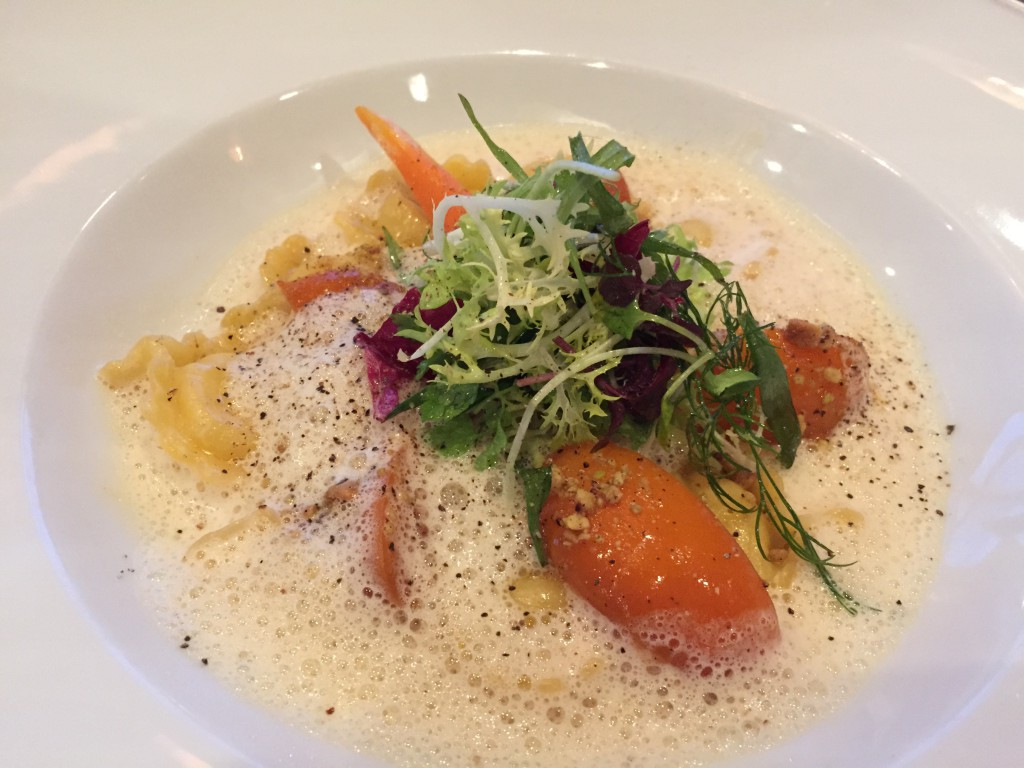 Eur 23 - Mountain cheese ravioli with marinated apricots and roasted nuts