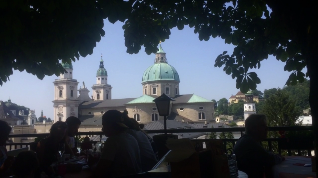 The view from the Biergarten towards the Cathedral