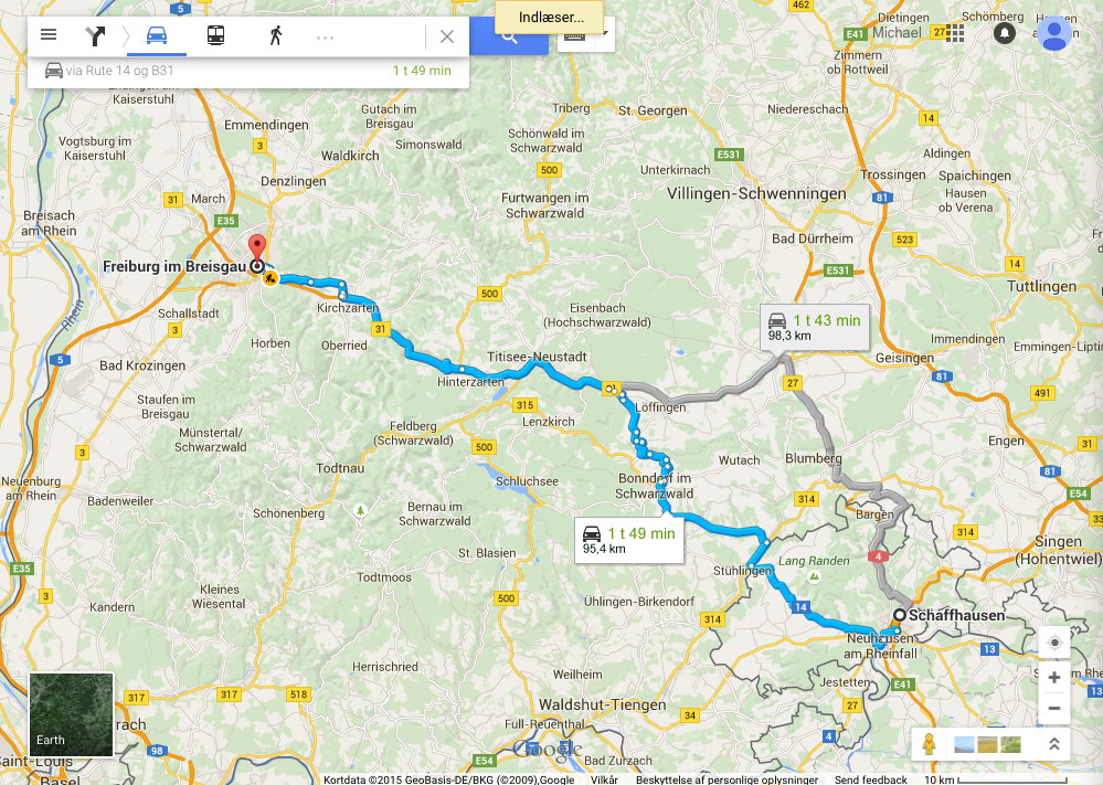 Schaffhausen to Freiburg via Rhine Falls and partly driving on the 'German Watch Road'