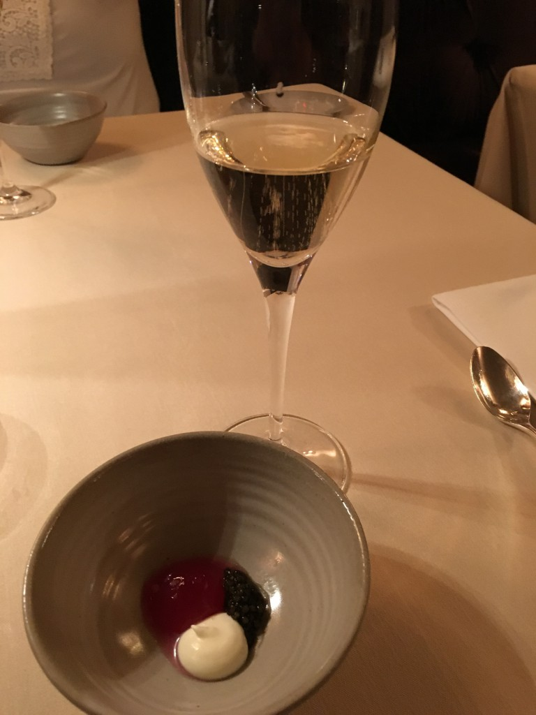 Tsar Imperial Caviar, Red apple, cultured cream and a glass of Fallet-Dart 'Cuvée de Réserve', Brut, Charly sur Marne, France