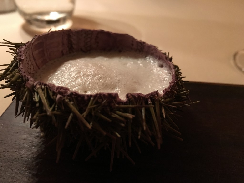 Sea Urchin, Bitter almond and a glass of Domaine Lupin, Roussette de Savoie 'Frangy' France 2012
