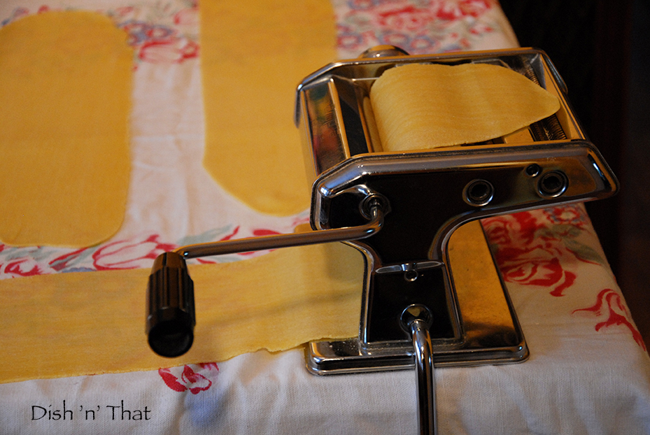 Use a pasta maker to roll out the dough, but don't go to the last setting, as the corzetti will be too thin.